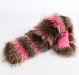XXL-Fell Kragen Natur/Pink