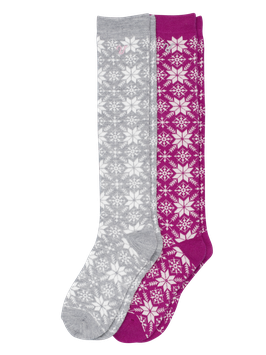 WOOL SOCK HIGH - 2pack // grau-pink
