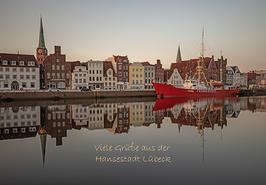 Postkarte Lübeck - Untertrave Feuerschiff