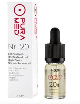 Pura Med Hanfextrakt Öl Nr.20 (20%) Vollspektrum mit High Olec Sonnenblumenöl