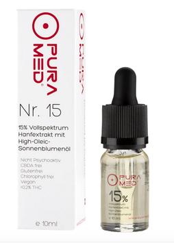Pura Med Hanfextrakt Öl Nr.15 (15%) Vollspektrum mit High Olec Sonnenblumenöl