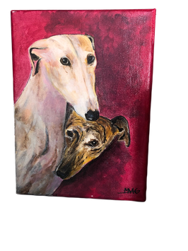 toile galgos sur fond rouge