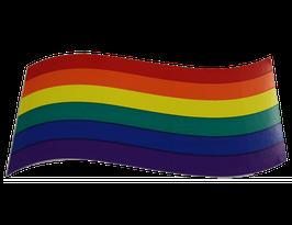 Regenbogen flagge Aufkleber geschwungen, Klein