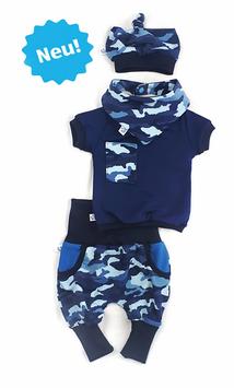 Hose, Knoten-Mütze, Halstuch & Kurzarmshirt>BlueCamou<