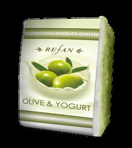 Refan Peelingschwamm mit Seife Olive & Jogurt 80g