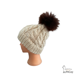 Alpaka Zopf Mütze mit Fellbommel