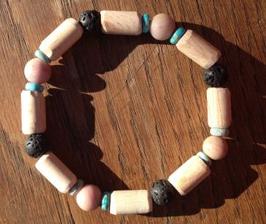 Bracelet HOMME Régalite, rhodonite mat, lave, bois de hêtre