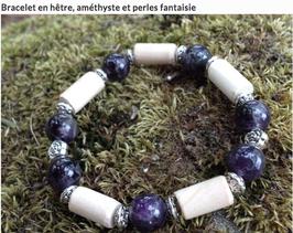 Bracelet Améthyste, fantaisie, bois de hêtre