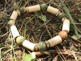 Bracelet Rhyolite, fantaisie strass, bois de hêtre
