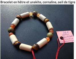 Bracelet unakite, cornaline, oeil de tigre, bois de hêtre