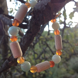 Bracelet Amazonite, Cornaline, Hêtre