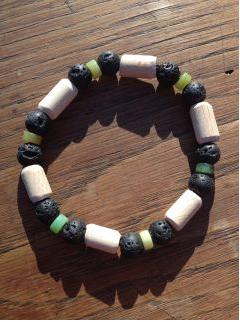 Bracelet HOMME Jaspe d''australie, lave, bois de hêtre - Bracelet YANG