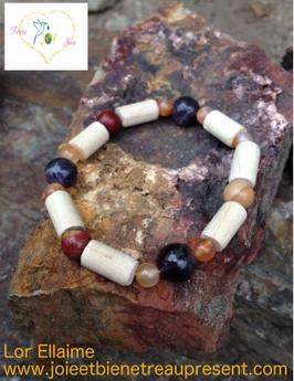 Bracelet Améthyste, cornaline, jaspe mokaïte, bois de hêtre