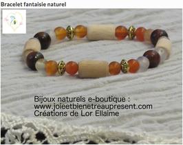 Bracelet fantaisie naturel, cornaline, oeil de taureau, fantaisie, bois de hêtre