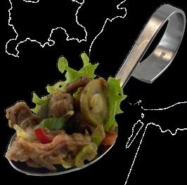 Rindfleischsalat im Löffel