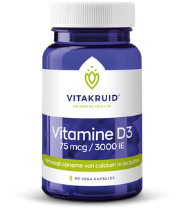 Vitakruid Vitamine D3 - 75 mcg - 3000 IE - 60 vega caps