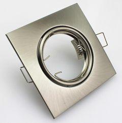 Portafaretto spot GU10 e MR16 Orientabile Cromo Satinato Quadrato Ghiera FN00298