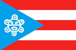 Bandera de Puerto Rico-Sol Taino (Yukiyú)