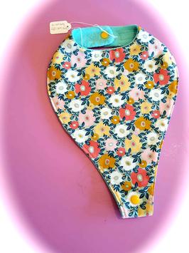 Bavoir 'Porte-Tétine Fleurs turquoise' .