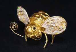 ハチ 蜂 ビー Bee クリップ 髪飾り オーナメント ペーパー クラフト 紙 アイボリー ゴールド 35082XO-IG