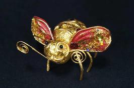 ハチ 蜂 ビー Bee クリップ 髪飾り オーナメント ペーパー クラフト 紙 レッド ゴールド 35082XO-RG