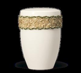 Urn natuurstof crème wit decor berken