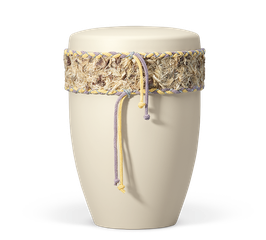 Urn natuurstof met band Ivoor wit