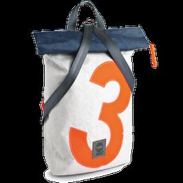 360° Rucksack Möwe weiß/blau Zahl orange