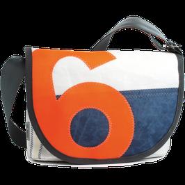 360° Handtasche Perle weiss/blau Zahl orange