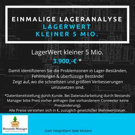 Einmalige LagerAnalyse für 3.900,-€ (Lagerwert bis 5 Mio.€)