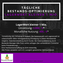 Tägliche BestandsOptimierung bis 1Mio LagerWert: Umsetzung 3.000,-/Monatliche Nutzung 400,-€.