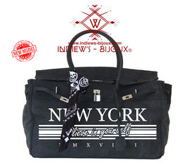 SAC A MAIN COUTURE DESIGNER TOILE BLACK 45 CM / MODELE NEW YORK BELIEVE IN YOURSELF