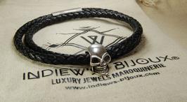 bracelet homme en cuir - MODELE  SKULL 6