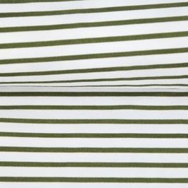 Jersey Streifen weiß/olive