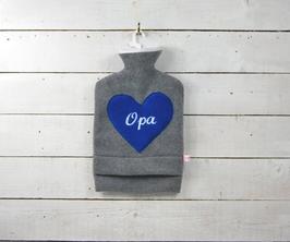 """Bestickte 2.0 Liter Wärmflasche - """" Opa """" - Herz in Blau"""