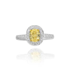 0.78 Carat, Fancy Yellow Oval Diamond Engagement Wedding Ring Set, Oval, VS2