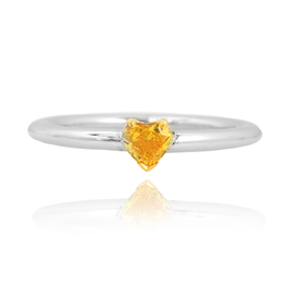0.31 Carat, Fancy Vivid Orangy Yellow Diamond Heart Solitaire Ring, Heart, SI2