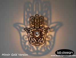 APPLIQUE MURALE ORIENTALE / HAMSA MODELE version MIROIR GOLD