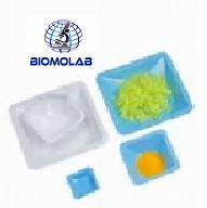 Charolas estándar para peso de muestras, fabricadas en poliestireno azul y blanco, Tamaño Grande 140x140x22mm. Paquete con 500 piezas HEATHROW SCIENTIFIC HS1421C