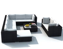 Soggiorno angolare con divano rattan Nero