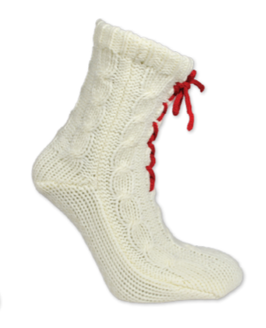 Strikket sokk med knyting, hvit