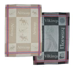 1 x Kjøkkenhåndkle, vevet, elg/rein/isbj og 1 x Kjøkkenhåndkle, vevet, Vikingmotiv