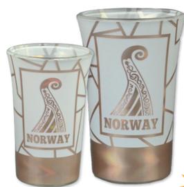 1 x Drammebeger viking, hvit/ rosè, 1 x Snapsglass viking, hvit/ rosè