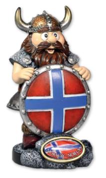 Vikingfigur med flagg skjold