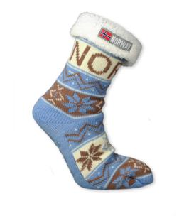 Strikket sokk med hvitt for, Lys blå