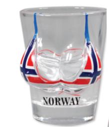 Drammebeger, bikinitopp Norsk flag
