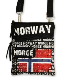 Liten sort veske, Norway med flagg