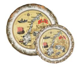 1 x Porselen tallerken, Norgeskart antikk og 1 x Porselen tallerken, Norgeskart antikk,