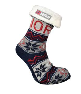 Strikket sokk med hvitt for, Marine blå