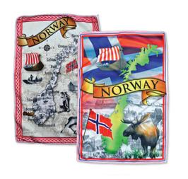 1 x Håndkle, Kart antikk og 1 x Håndkle, Kart med Norgesmotiv